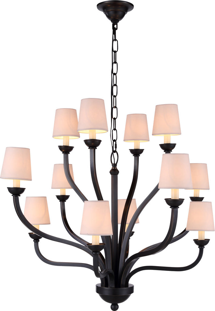 C121-1400D34BZ By Elegant Lighting - Vineland Collection Bronze Finish 12 Lights Pendant lamp