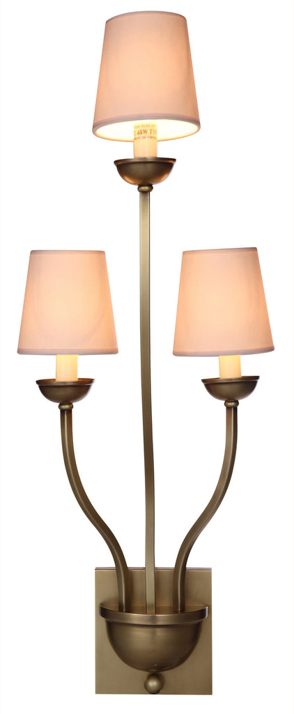 C121-1400W3BB By Elegant Lighting - Vineland Collection Burnished Brass Finish 3 Lights Wall Sconce