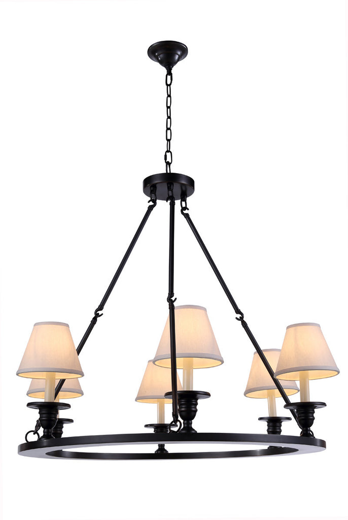 C121-1402D32BZ By Elegant Lighting - Chester Collection Bronze Finish 6 Lights Pendant lamp