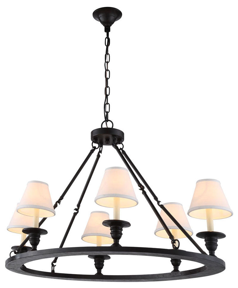 C121-1402D36VB By Elegant Lighting - Chester Collection Vintage Bronze Finish 6 Lights Pendant lamp