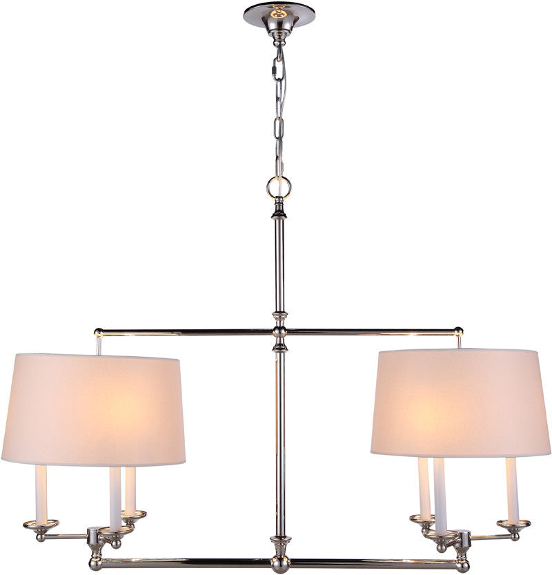 C121-1405G42PN By Elegant Lighting - Crawford Collection Polished Nickel Finish 6 Lights Pendant lamp