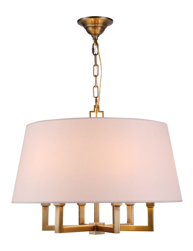 C121-1409D24BB By Elegant Lighting - Hamilton Collection Burnish Brass Finish 6 Lights Pendant lamp