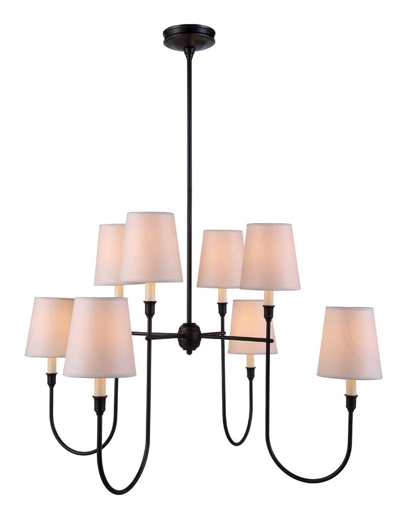 C121-1411G36BZ By Elegant Lighting - Lancaster Collection Bronze Finish 8 Lights Pendant lamp