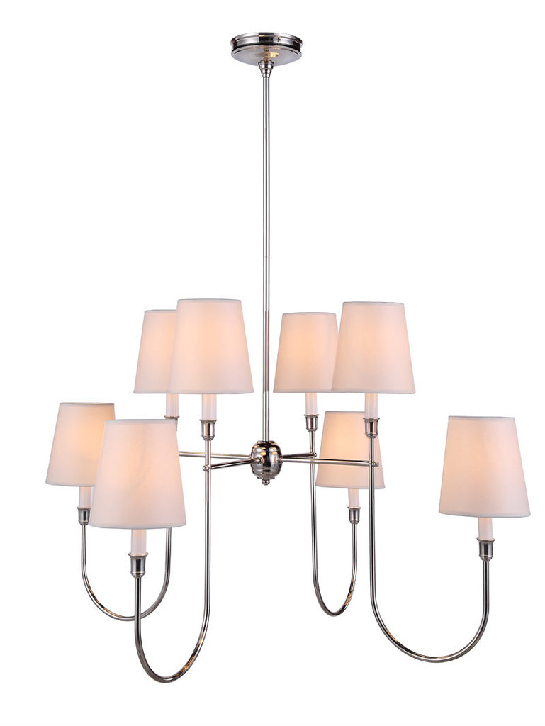 C121-1411G36PN By Elegant Lighting - Lancaster Collection Polished Silver Finish 8 Lights Pendant lamp