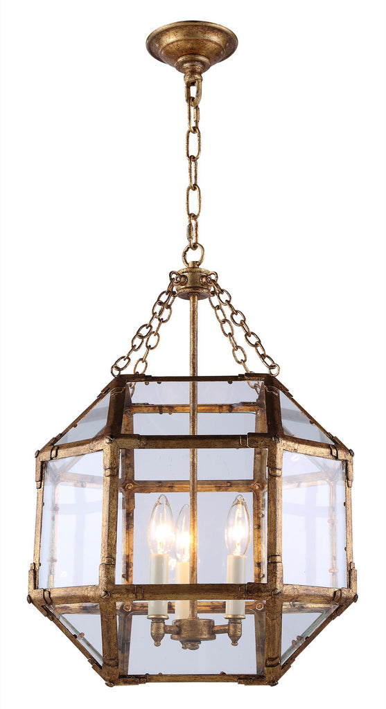 C121-1413D14GI By Elegant Lighting - Gordon Collection Golden Iron Finish 3 Lights Pendant lamp