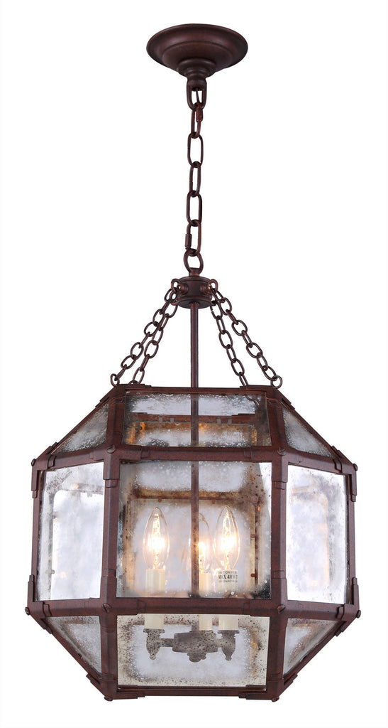 C121-1413D14SR By Elegant Lighting - Gordon Collection Saddle Rust Finish 3 Lights Pendant lamp