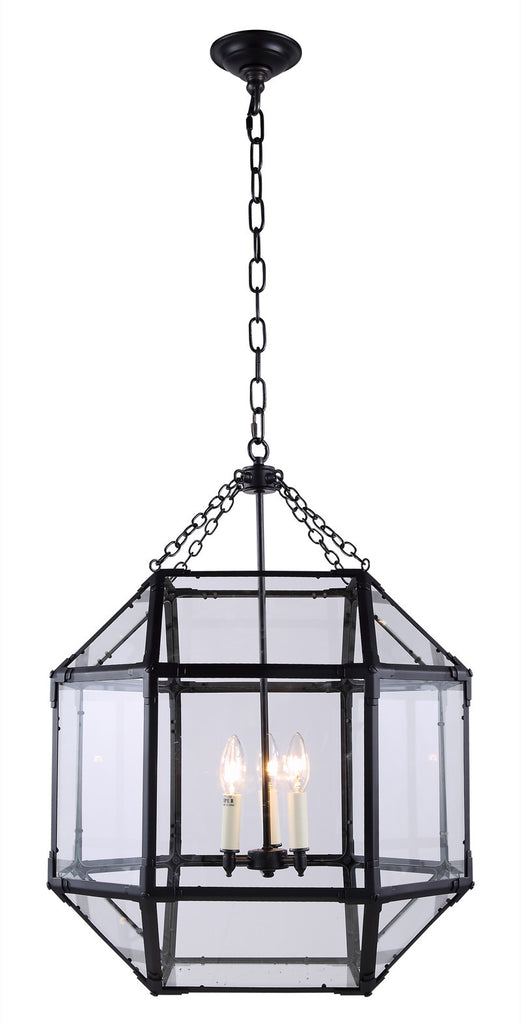 C121-1413D19RZ By Elegant Lighting - Gordon Collection Zinc Finish 3 Lights Pendant lamp