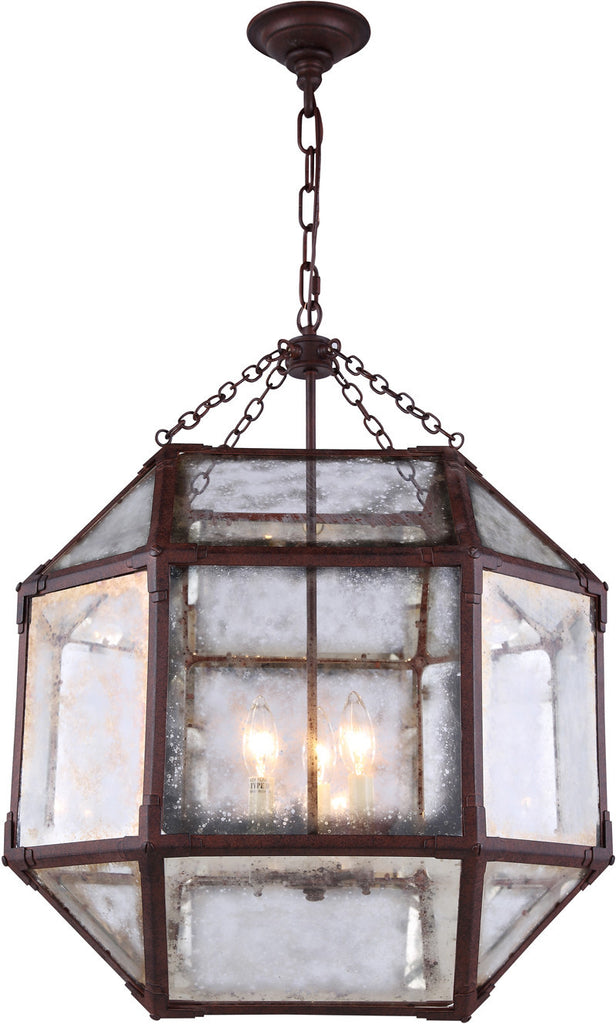 C121-1413D19SR By Elegant Lighting - Gordon Collection Saddle Rust Finish 3 Lights Pendant lamp