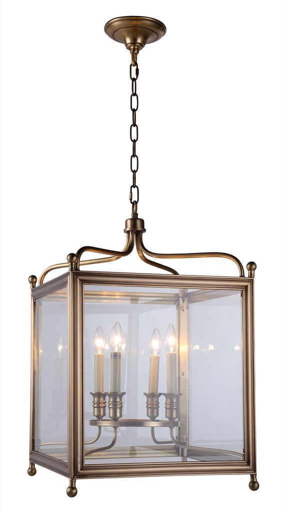 C121-1414D18BB By Elegant Lighting - Oxford Collection Burnish Brass Finish 4 Lights Pendant lamp