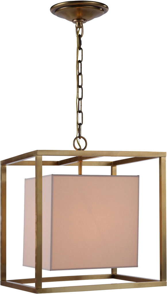 C121-1416D16BB By Elegant Lighting - Quincy Collection Burnish Brass Finish 1 Light Pendant lamp