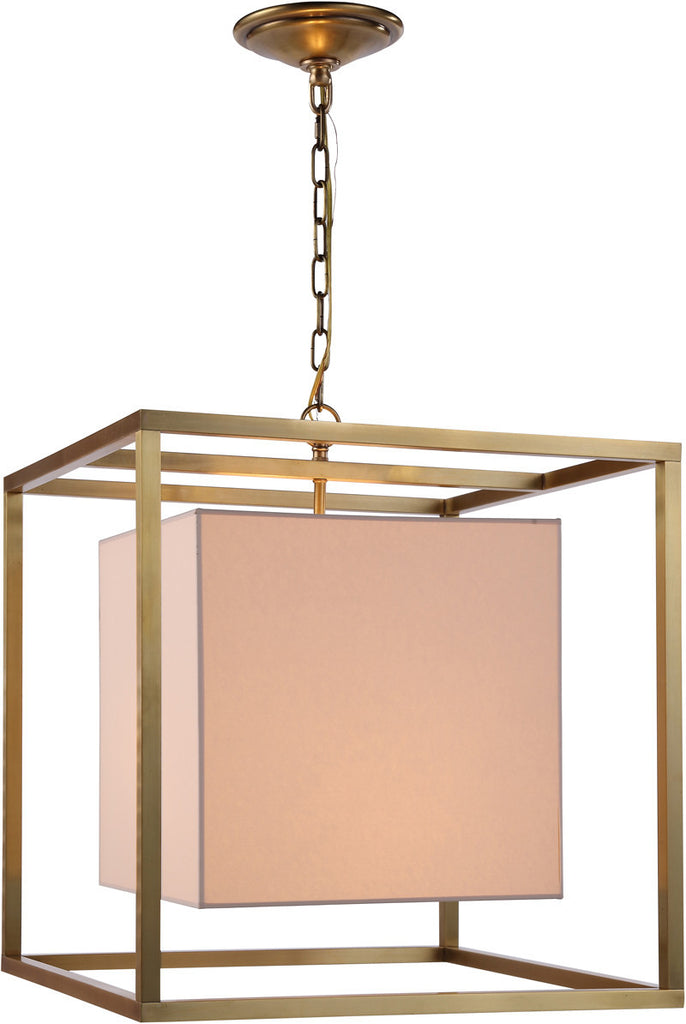 C121-1416D22BB By Elegant Lighting - Quincy Collection Burnish Brass Finish 2 Lights Pendant lamp