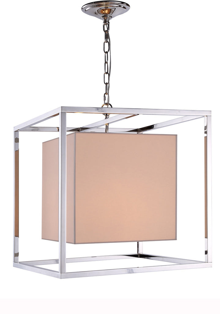 C121-1416D22PN By Elegant Lighting - Quincy Collection Polished Nickel Finish 2 Lights Pendant lamp