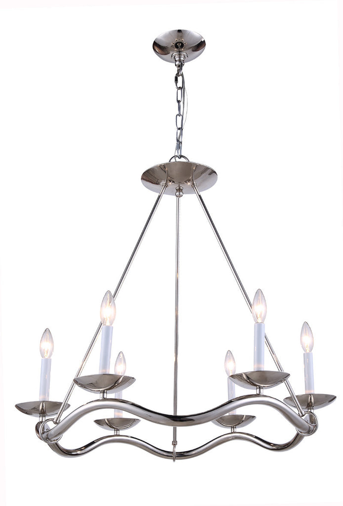 C121-1419D29PN By Elegant Lighting - Perry Collection Polished Nickel Finish 6 Lights Pendant lamp