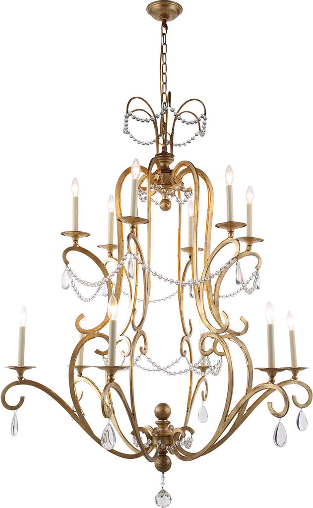 C121-1420G43GI By Elegant Lighting - Sarina Collection Golden Iron Finish 12 Lights Pendant Lamp