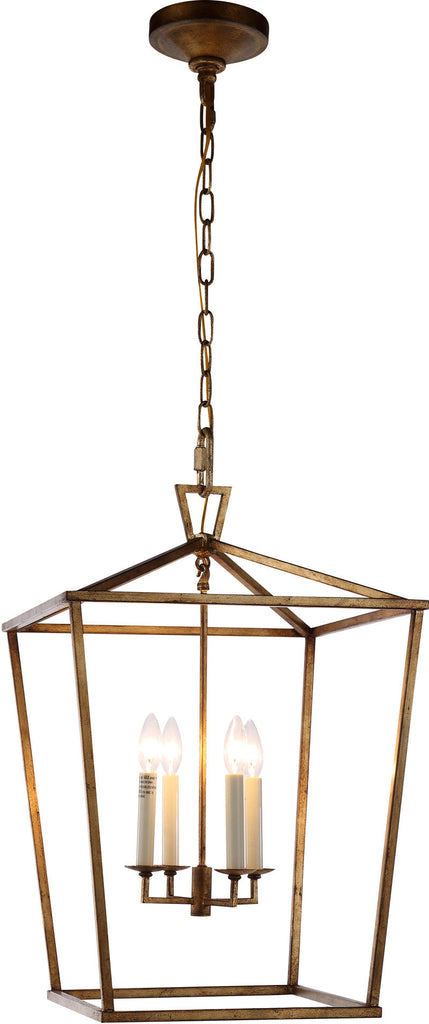 C121-1422D17GI By Elegant Lighting - Denmark Collection Golden Iron Finish 4 Lights Pendant Lamp