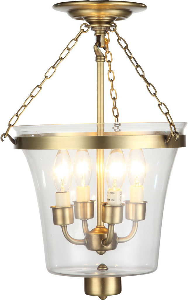 C121-1423F12BB By Elegant Lighting - Seneca Collection Burnished Brass Finish 4 Lights Flush Mount
