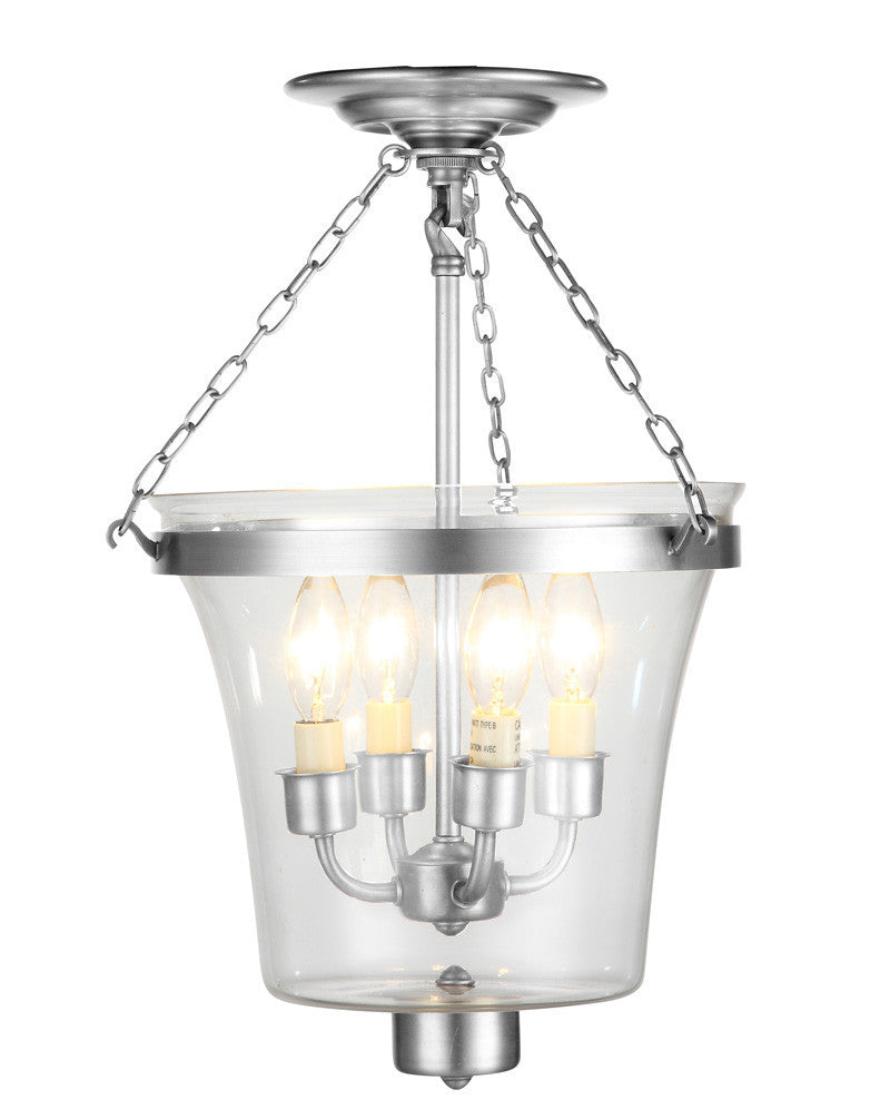 C121-1423F12PN By Elegant Lighting - Seneca Collection Polished Nickel Finish 4 Lights Flush Mount
