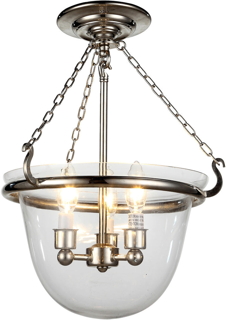 C121-1425F13PN By Elegant Lighting - Seneca Collection Polished Nickel Finish 3 Lights Flush Mount