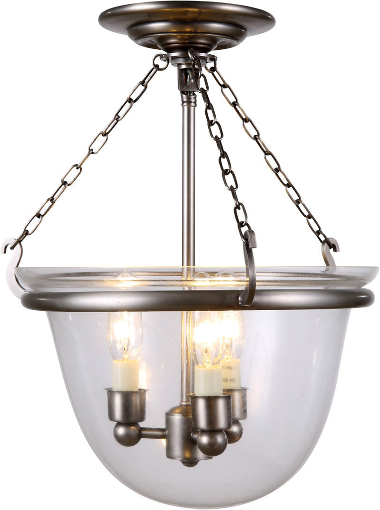 C121-1425F13VN By Elegant Lighting - Seneca Collection Vintage Nickel Finish 3 Lights Flush Mount