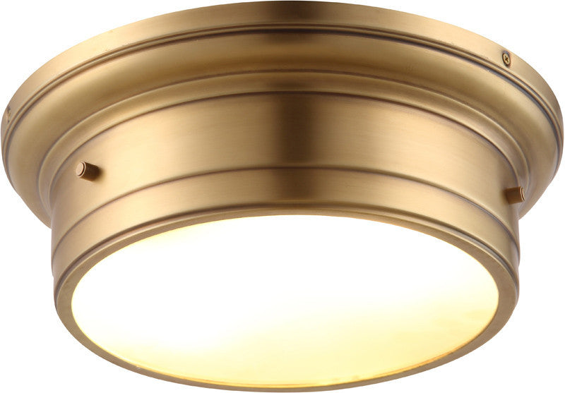 C121-1428F14BB By Elegant Lighting - Sansa Collection Burnished Brass Finish 2 Lights Flush Mount