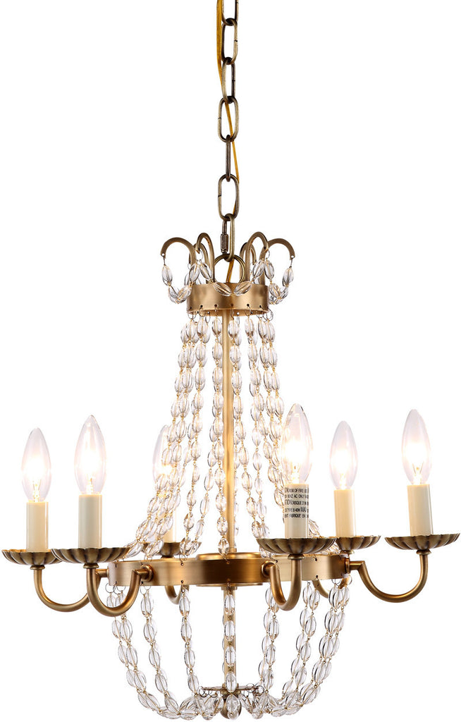 C121-1433D16BB By Elegant Lighting - Roma Collection Burnished Brass Finish 6 Lights Pendant Lamp