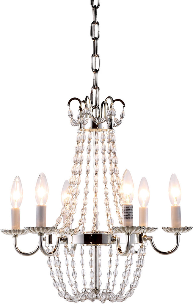C121-1433D16SN By Elegant Lighting - Roma Collection Silver Nickel Finish 6 Lights Pendant Lamp