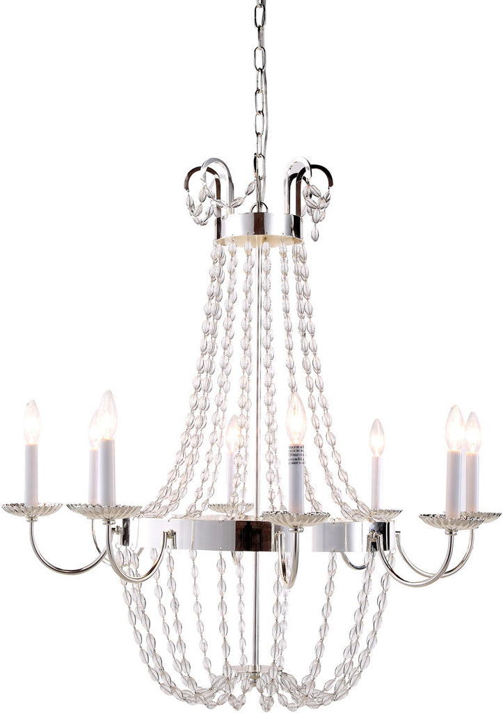 C121-1433D32SN By Elegant Lighting - Roma Collection Silver Nickel Finish 8 Lights Pendant Lamp