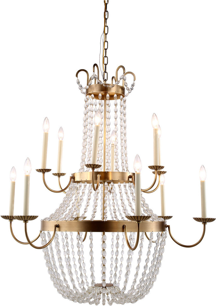 C121-1433G39BB By Elegant Lighting - Roma Collection Burnished Brass Finish 12 Lights Pendant Lamp