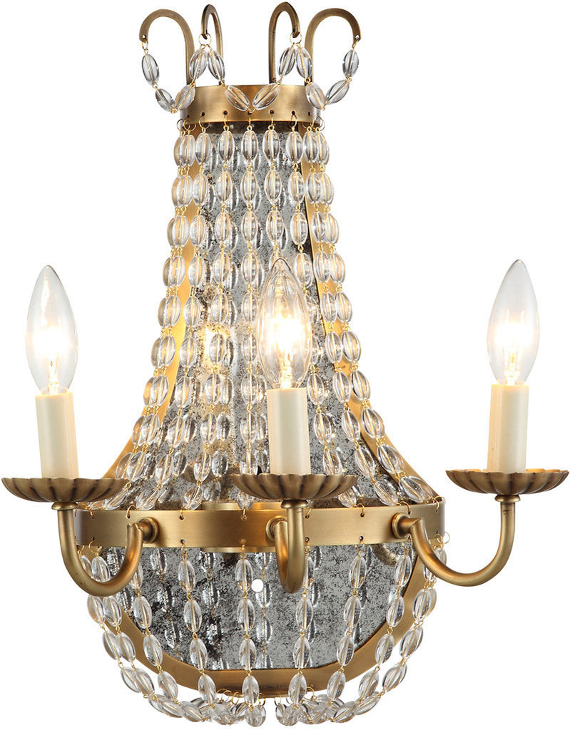 C121-1433W13BB By Elegant Lighting - Roma Collection Burnished Brass Finish 3 Lights Wall Sconce