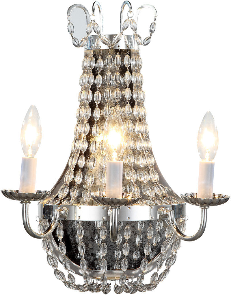 C121-1433W13SN By Elegant Lighting - Roma Collection Silver Nickel Finish 3 Lights Wall Sconce