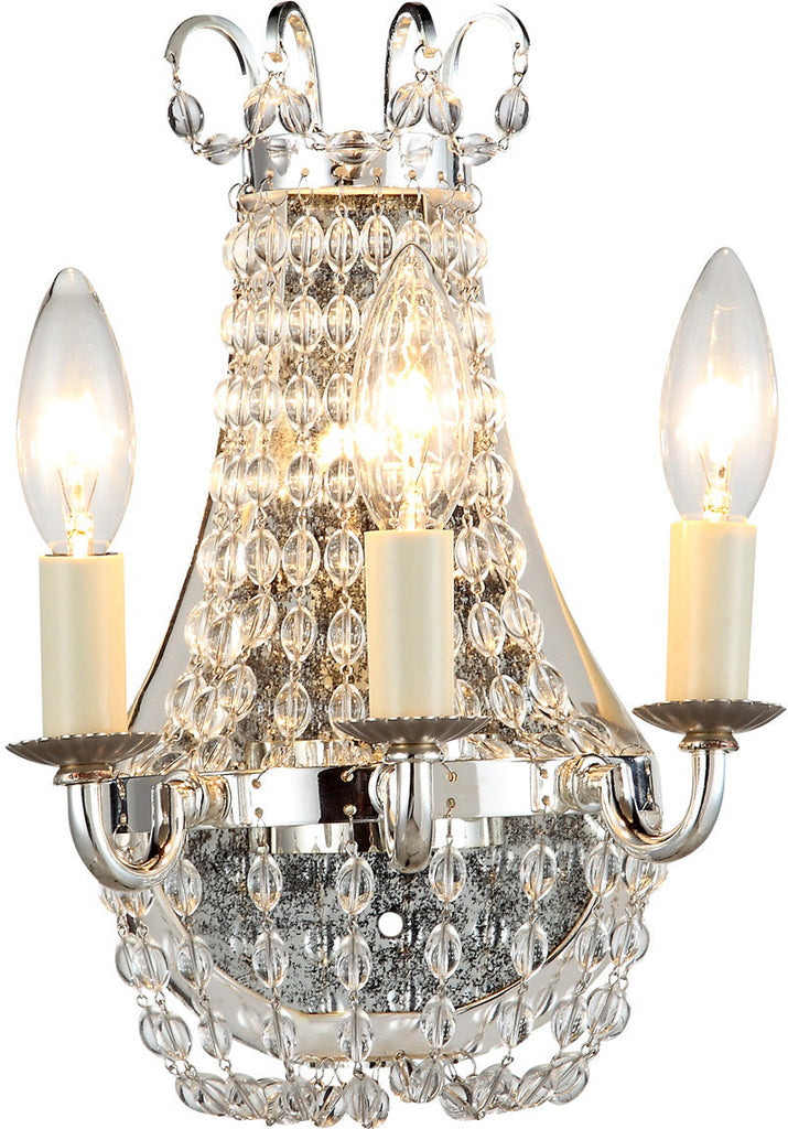 C121-1433W8SN By Elegant Lighting - Roma Collection Silver Nickel Finish 3 Lights Wall Sconce