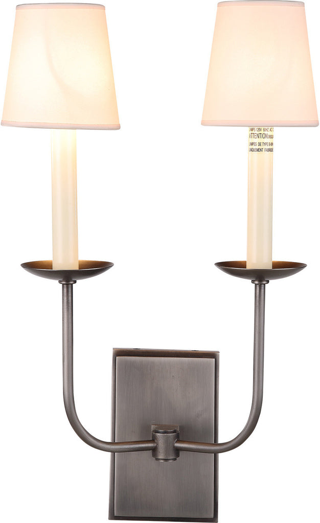 C121-1435W10VN By Elegant Lighting - Penelope Collection Vintage Nickel Finish 2 Lights Wall Sconce