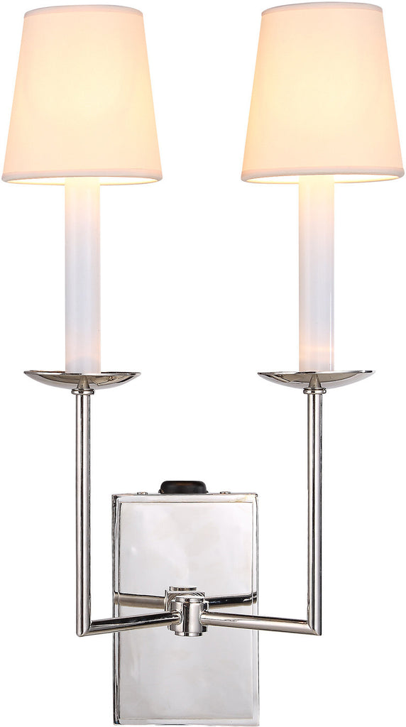 C121-1436W10VN By Elegant Lighting - Astana Collection Vintage Nickel Finish 2 Lights Wall Sconce