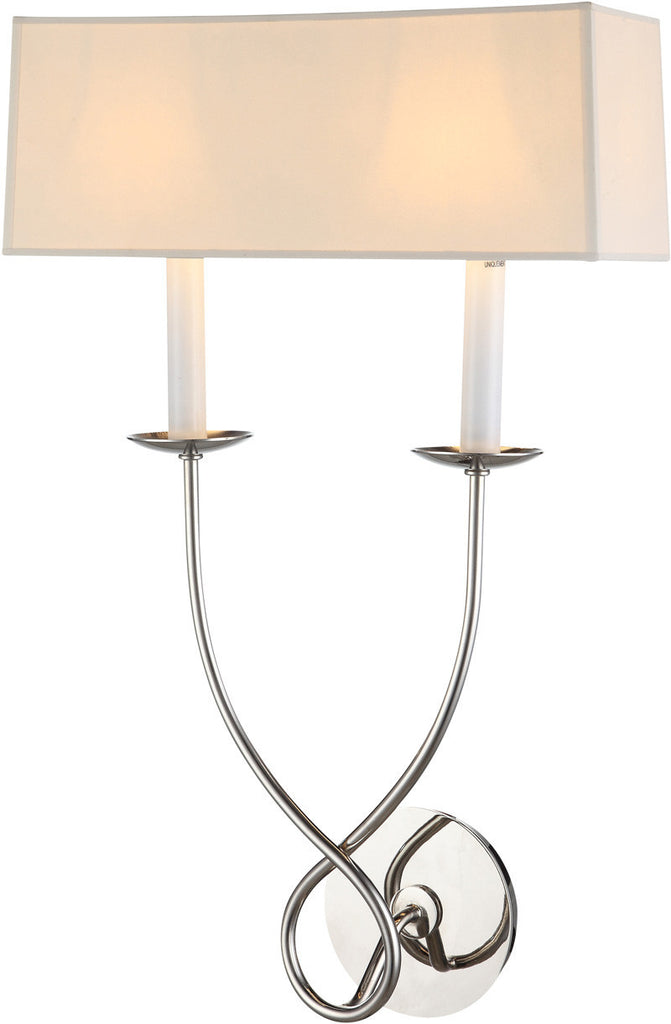 C121-1437W13PN By Elegant Lighting - Argyle Collection Vintage Nickel Finish 2 Lights Wall Sconce