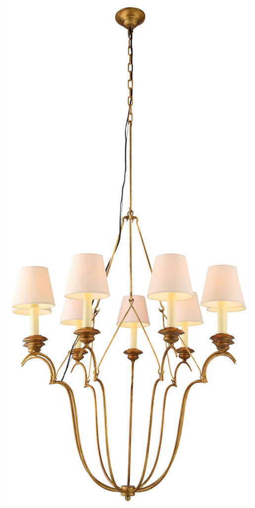 C121-1439D33GI By Elegant Lighting - Dominion Collection Golden Iron Finish 9 Lights Pendant Lamp