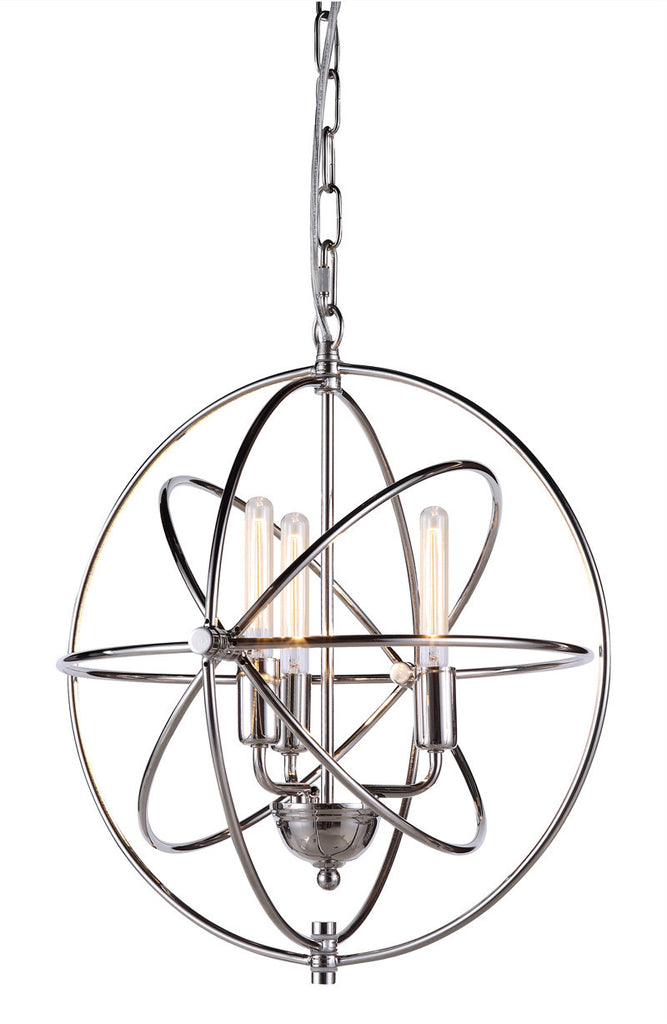 C121-1453D17PN By Elegant Lighting - Vienna Collection Polished Nickel Finish 3 Lights Pendant lamp