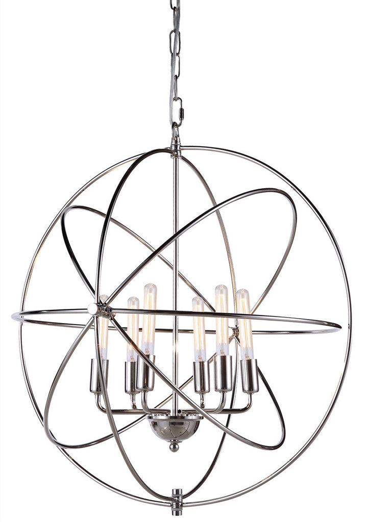 C121-1453D25PN By Elegant Lighting - Vienna Collection Polished Nickel Finish 6 Lights Pendant lamp