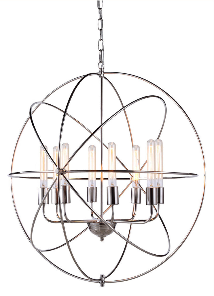 C121-1453D32PN By Elegant Lighting - Vienna Collection Polished Nickel Finish 8 Lights Pendant lamp
