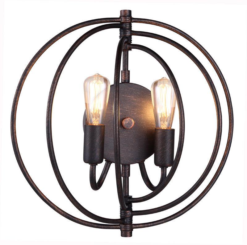 C121-1453W13DB By Elegant Lighting - Vienna Collection Dark Bronze Finish 2 Lights Wall Sconce