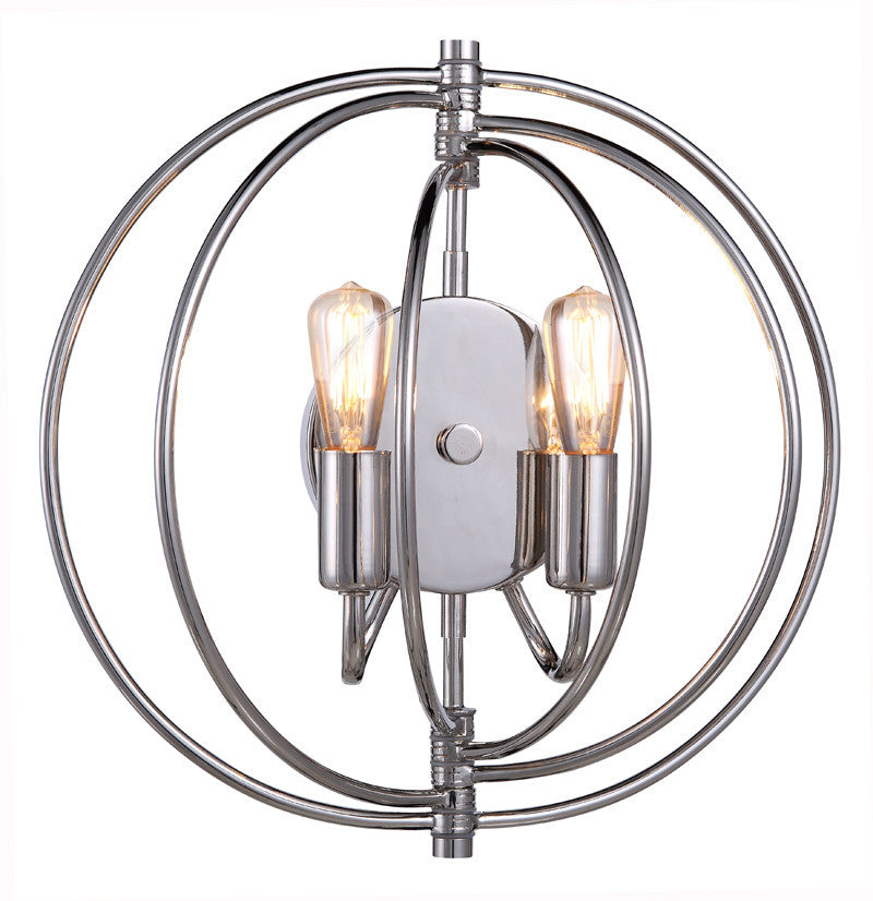 C121-1453W13PN By Elegant Lighting - Vienna Collection Polished Nickel Finish 2 Lights Wall Sconce