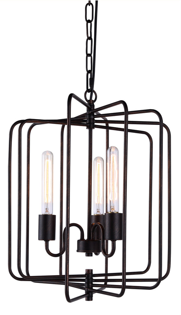 C121-1454D16DB By Elegant Lighting - Lewis Collection Dark Bronze Finish 3 Lights Pendant lamp