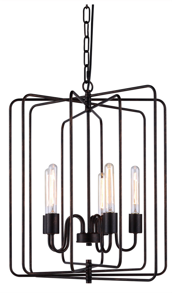 C121-1454D20DB By Elegant Lighting - Lewis Collection Dark Bronze Finish 5 Lights Pendant lamp