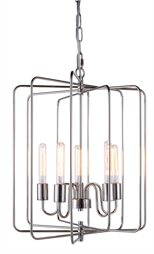 C121-1454D20PN By Elegant Lighting - Lewis Collection Polished Nickel Finish 5 Lights Pendant lamp