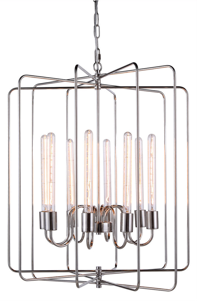 C121-1454D25PN By Elegant Lighting - Lewis Collection Polished Nickel Finish 8 Lights Pendant lamp