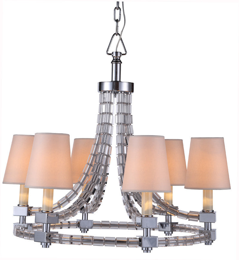 C121-1460D34PN By Elegant Lighting - Cristal Collection Polished Nickel Finish 6 Lights Pendant lamp