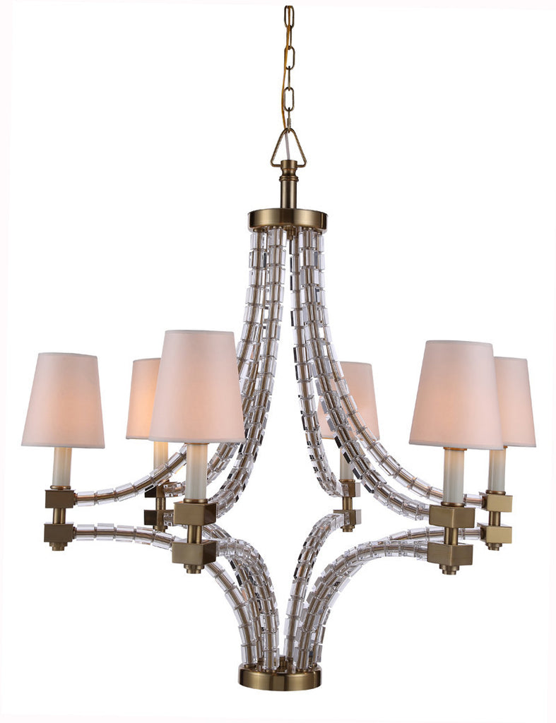 C121-1460D36BB By Elegant Lighting - Cristal Collection Burnished Brass Finish 6 Lights Pendant lamp