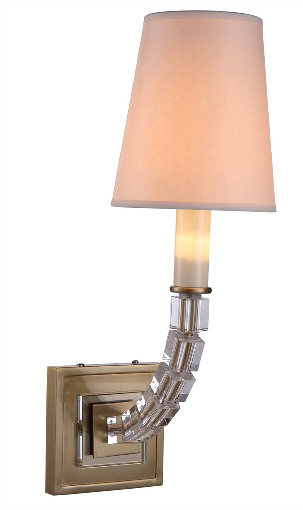 C121-1460W5BB By Elegant Lighting - Cristal Collection Burnished Brass Finish 1 Light Wall Sconce