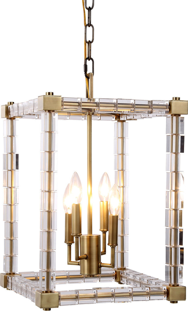 C121-1461D13BB By Elegant Lighting - Cristal Collection Burnished Brass Finish 4 Lights Pendant Lamp