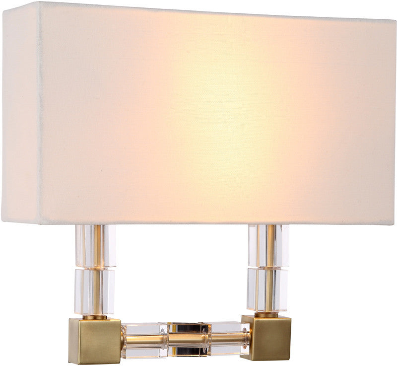 C121-1461W13BB By Elegant Lighting - Cristal Collection Burnished Brass Finish 2 Lights Wall Sconce