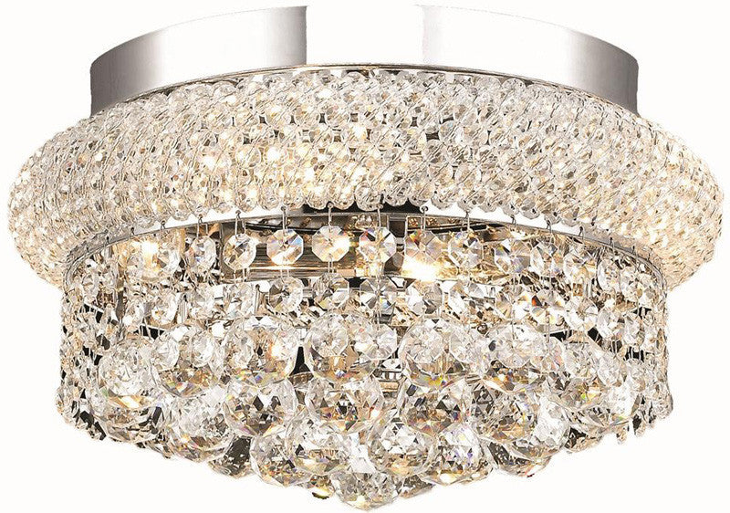 ZC121-V1800F12C/EC By Elegant Lighting - Primo Collection Chrome Finish 4 Lights Flush Mount